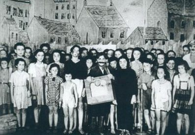 The cast of Brundibár, an childrens opera by Hans Krasá in Terezin. After the SS filmed a performance for propaganda, the entire cast was shipped to Auschwitz along with the composer.